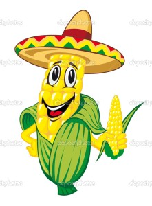 Cartoon corn cob in sombrero isolated on white background