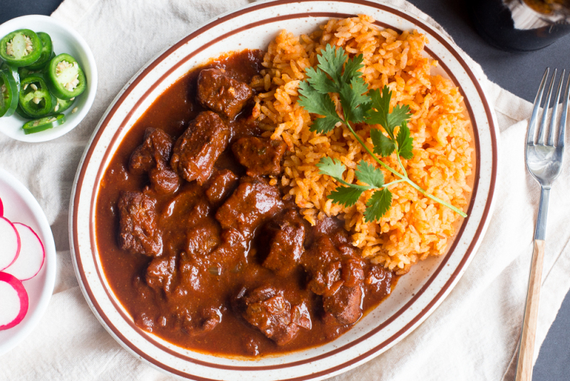 Tex Mex Bowl Of Red Chili Colorado With Mexican Rice Kristoscooks